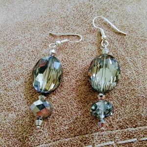 Large Crystal Earrings with Silver Accentsnice